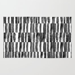 Black and White watecolor brush strokes Rug