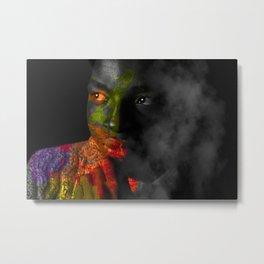 Color portrait in smoke Metal Print