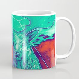 Stag Dimension of Teal Coffee Mug