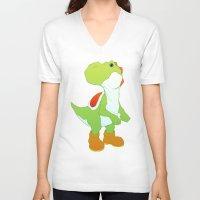 yoshi V-neck T-shirts featuring Yoshi by bloozen