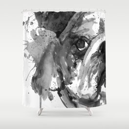 Black And White Half Faced English Bulldog Shower Curtain