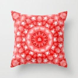 Kaleidoscope Fuzzy Red and White Circular Pattern Throw Pillow