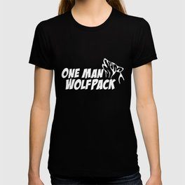 ONE MAN WOLF PACK Funny the Hangover quote college wolf T-shirt