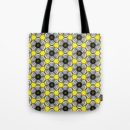 Yellow and Black Flowers Tote Bag