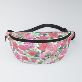 spring floral bunny hiding Fanny Pack