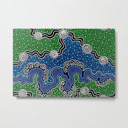 Authentic Aboriginal Art - The River (green) Metal Print