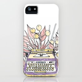 Vintage typewriter. Purple iPhone Case