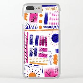 Geometric blue pink and orange Clear iPhone Case