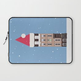 New York City NYC Brownstone Snowy Christmas Laptop Sleeve