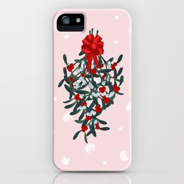 Elegant Mistletoe Holiday Design iPhone Case