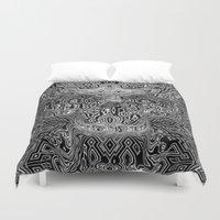 escher Duvet Covers featuring Skull - Escher Textur by itsme23