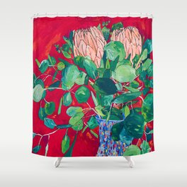 Two Proteas on Red, Pink, and Purple Floral Still Life with Fynbos Shower Curtain