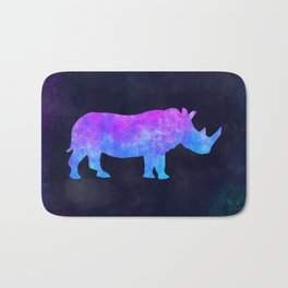 RHINO IN SPACE // Animal Graphic Art // Watercolor Canvas Painting // Modern Minimal Cute Bath Mat