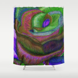 NERPLE Wild Rose (Rainbow Rose) Shower Curtain