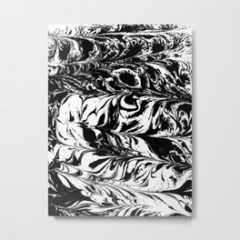 Suminagashi 4 black and white marble spilled ink ocean swirl watercolor painting Metal Print