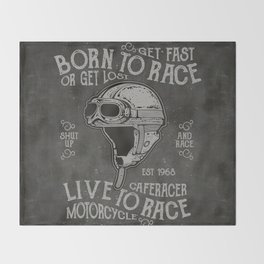 Born to Race Motorcycle Vintage Chalkboard Poster Throw Blanket