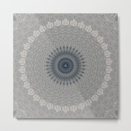 Decorative Textured Grey Blue Mandala Metal Print