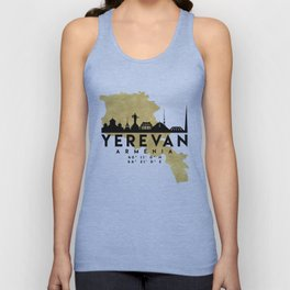 YEREVAN ARMENIA SILHOUETTE SKYLINE MAP ART Unisex Tank Top