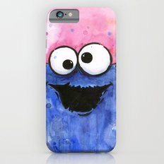 Cookie Monster Funny Cartoon Character Watercolor Blue Pink Slim Case iPhone 6s
