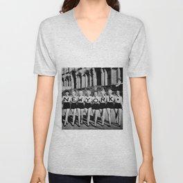 NYC Broadway Chorus Line, New York City black and white photograph Unisex V-Neck
