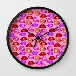Glossy Lips Pattern Wall Clock