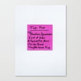 TOP FIVE Novels Canvas Print