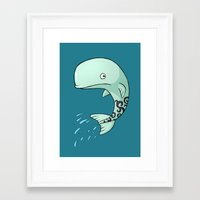 the whale Framed Art Prints featuring Whale by Freeminds