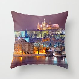 Prague-winte night Throw Pillow