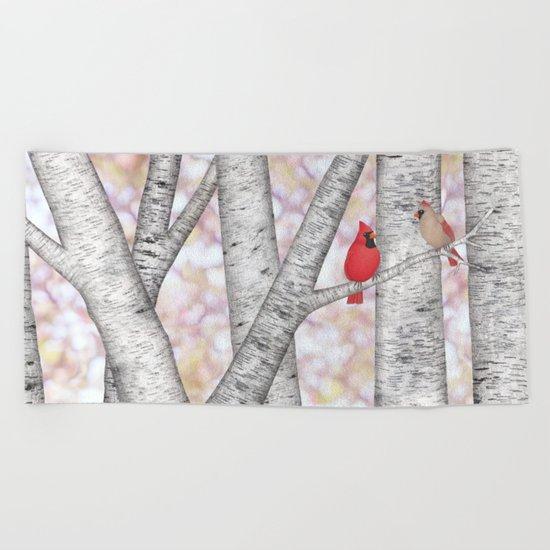 cardinals and birch trees Beach Towel