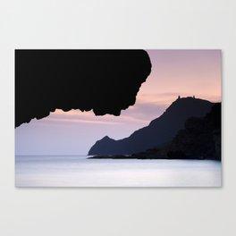 Half Moon beach. Vela tower cliff. Canvas Print