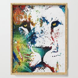 Colorful Lion Art By Sharon Cummings Serving Tray