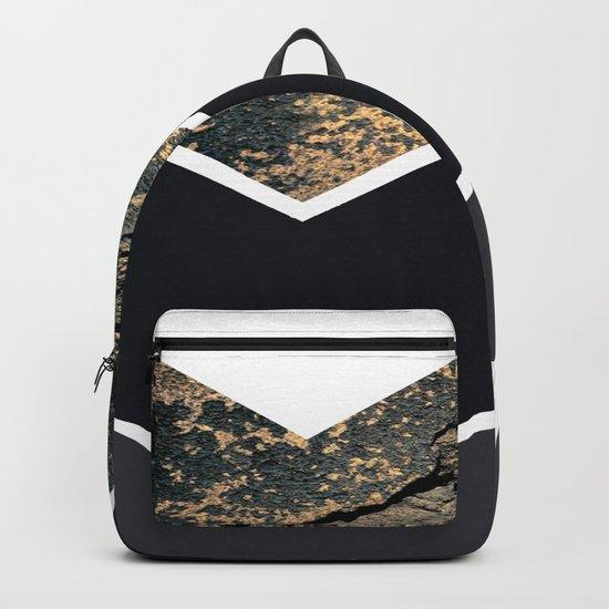 Scandinavian Gold Concrete Black Gray Geometric Pattern Backpack