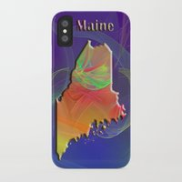 maine iPhone & iPod Cases featuring Maine Map by Roger Wedegis