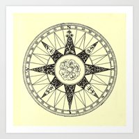compass Art Prints featuring Compass by Smokacinno