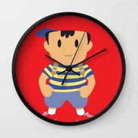 earthbound Wall Clocks featuring Ness - Earthbound - Super Smash Brothers - Minimalist by Adrian Mentus