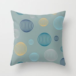 Striped pastel bubbles on teal Throw Pillow