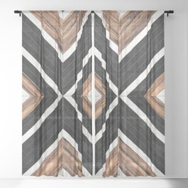 Urban Tribal Pattern No.1 - Concrete and Wood Sheer Curtain