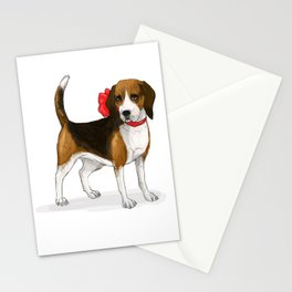 Beagle in a Bow Stationery Cards
