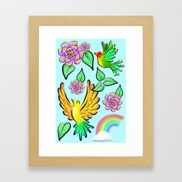 Birds Flowers and Rainbows Doodle Pattern Framed Art Print