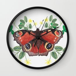 Peacock Butterfly Wall Clock