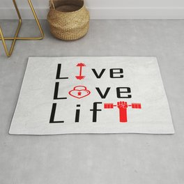 Live Love Lift Inspirational Life Motivating Quote Rug