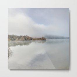 Foggy lake. At sunrise Metal Print