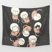cat coquillette Wall Tapestries featuring Cat-Stronauts by Drew Brockington