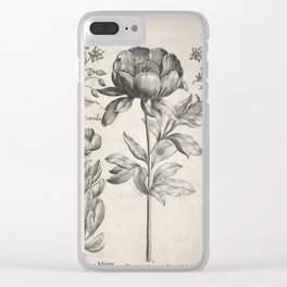 Antique floral black and white chinoiserie flower vintage Paris flowers French botanical goth print Clear iPhone Case