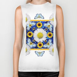 EVERYTHING'S COMING UP DAISIES & BUTTERFLIES  BLUE  ART Biker Tank