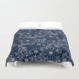 Artistic hand painted navy blue white modern floral Duvet Cover