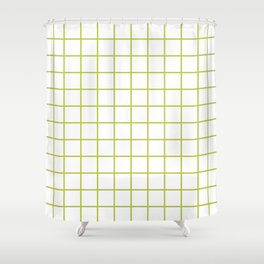 Grid Pattern Chartreuse Shower Curtain
