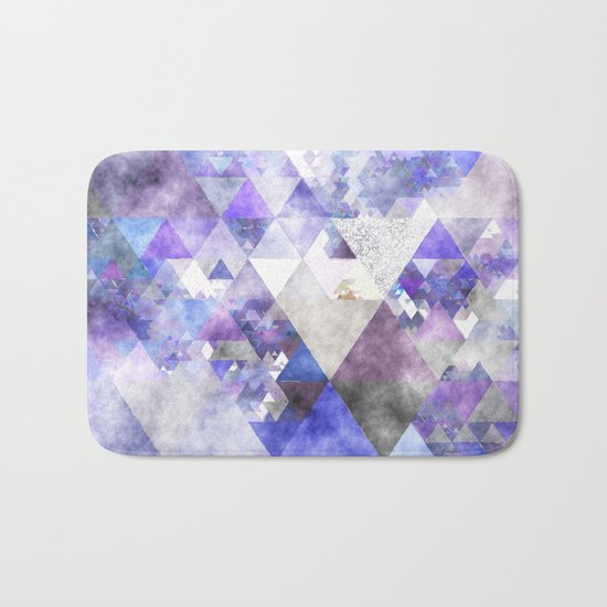 Purple and silver glitter triangle pattern- Abstract watercolor illustration Bath Mat