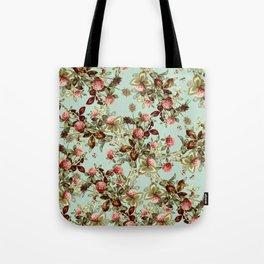 Vintage shabby green pink coral floral pattern Tote Bag