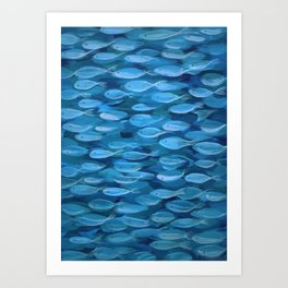 Shimmer Shoal in Blue Art Print